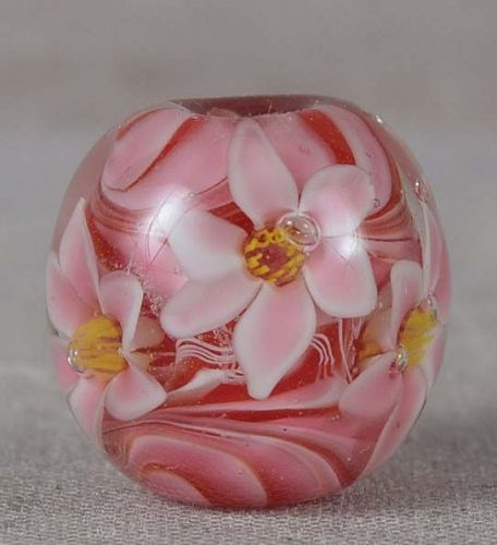 Japanese glass OJIME tombodama FLOWERS & swirling core