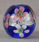 Japanese glass OJIME tombodama FLOWERS & silver foil