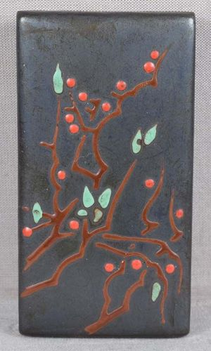 ANDO Japanese Arts & Crafts enameled box PRUNUS TREE