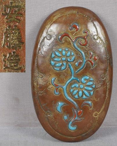 1910s ANDO Arts & Crafts Japanese copper box enameled AOI LEAVES
