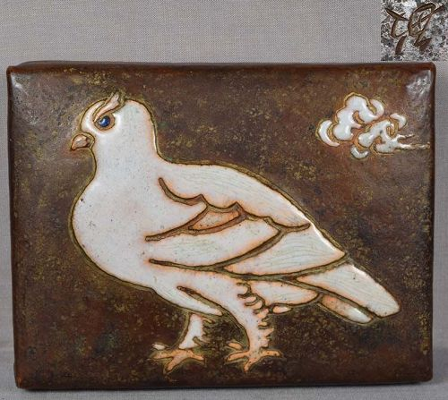 1910s ANDO Arts & Crafts Japanese copper box PIGEON by TOSHI