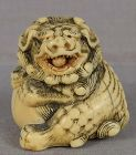 18c netsuke SHISHI with ball ex Toledo Museum