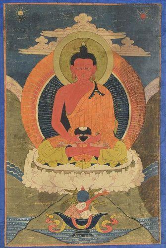 Early 19c Tibetan thangka BUDDHA AMITABHA