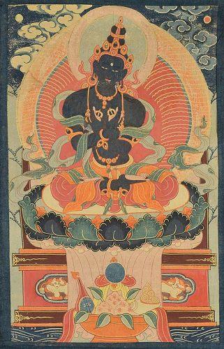 18c Tibetan thangka primordial BUDDHA VAJRADHARA
