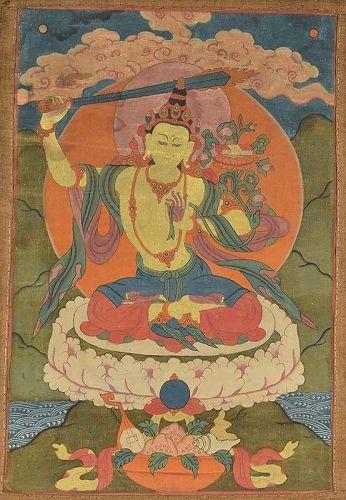 Early 19c Tibetan thangka BODHISATTVA MANJUSHRI