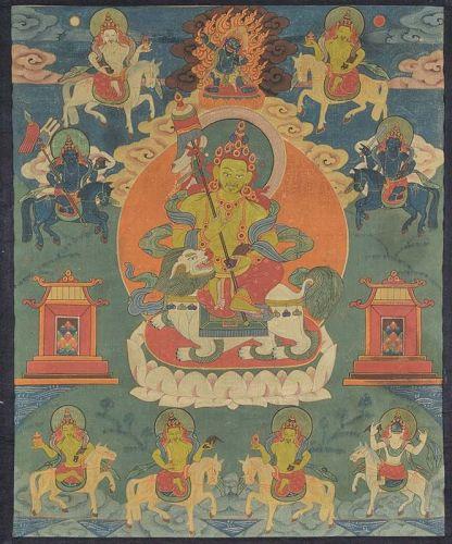 18c Tibetan painting THANGKA VAISHRAVANA 8 attendants