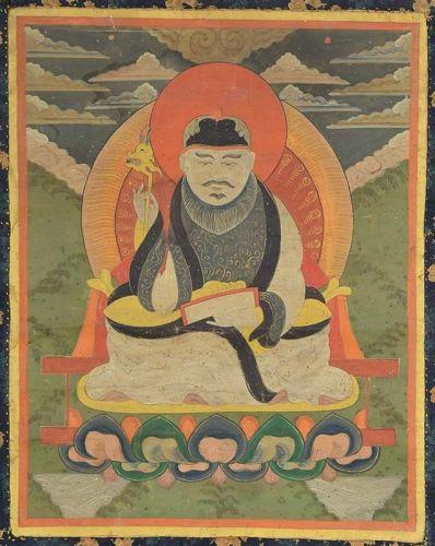 19c Tibetan / Mongolian thangka TSERENDUG The White Old Man