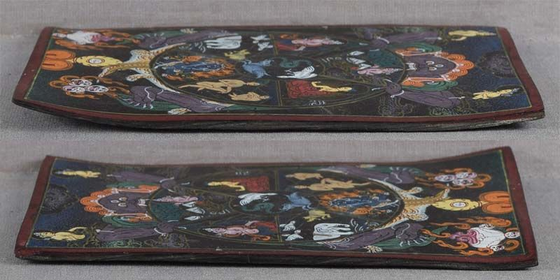 1910s Tibetan thangka on horn BHAVACHAKRA Samsara