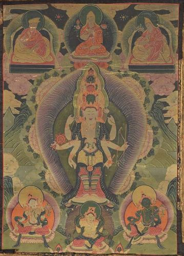 18c Tibetan thangka 11 faced AVALOKITESHVARA
