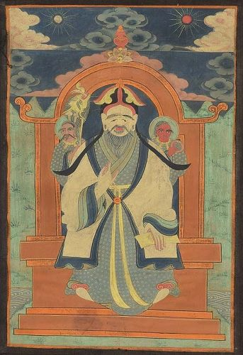 19c Tibetan / Mongolian thangka TSERENDUG The White Old Man