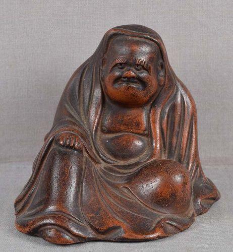 19c BIZEN okimono meditating DARUMA
