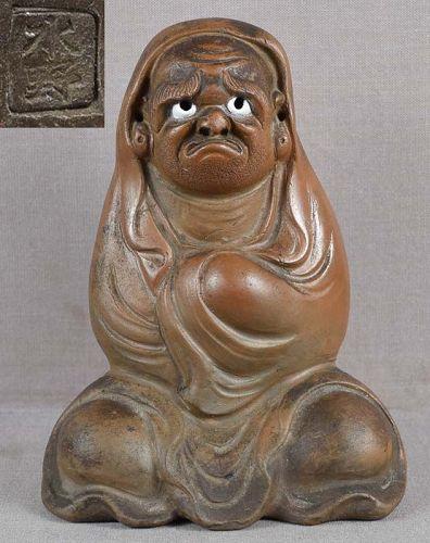 19c BIZEN okimono meditating DARUMA by EISHO