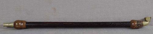 19c Japanese bronze TOBACCO PIPE DARUMA