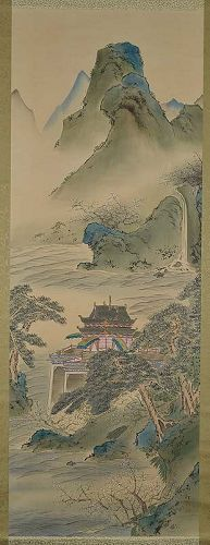 Japanese scroll painting BLUE & GREEN landscape by JUSHU
