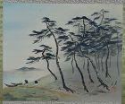 Japanese scroll painting FISHERMEN & pines by BAIYU