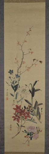 Japanese scroll painting DIFFERENT FLOWERS by 5 artists