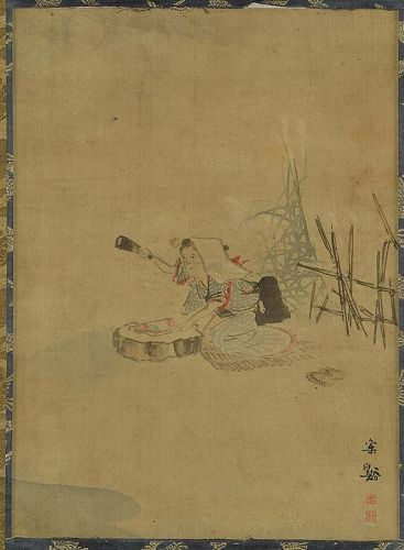 19c Japanese scroll painting BEATING CLOTH by SOTANI