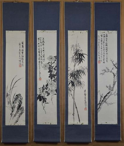 4 Chinese scroll paintings 4 NOBLES plum orchid bamboo chrysanthemum