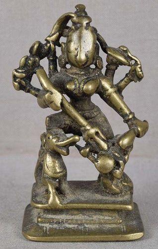 18c Indian bronze DURGA slaying demon Mahishasura