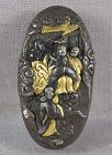 19c Japanese sword KASHIRA Goddess Benten with attendants