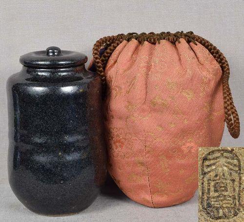 19c Japanese tea ceremony BLACK SETO CHAIRE tea caddy