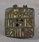 18c Indian bronze ritual SKIN STAMP SACRED SCRIPT