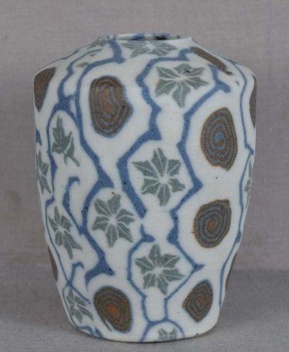1920s Japanese agateware NERIKOMI Banko VASE