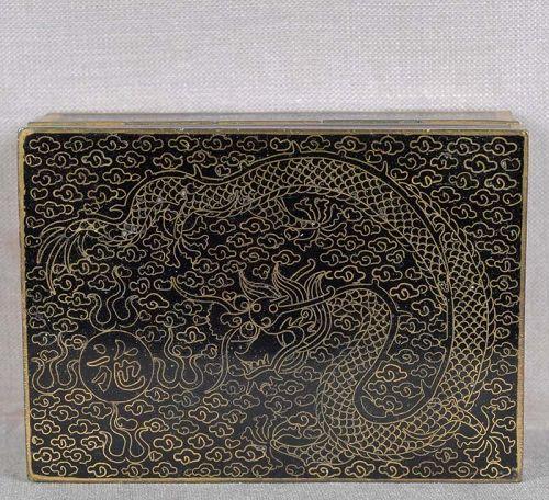 1910s Japanese cloisonne POSTAL STAMP BOX dragon, gilding