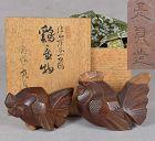 Pair 19c okimono ROOSTER & HEN netsuke carver SUKESADA original box