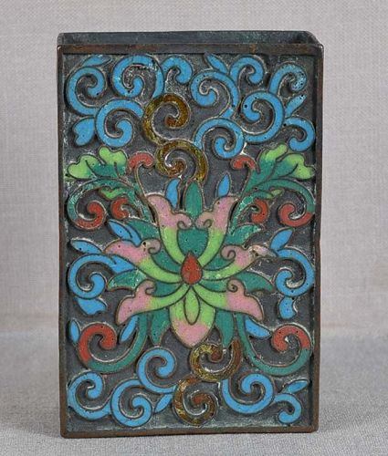 19c Chinse cloisonne match box holder LOTUS