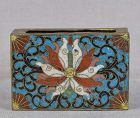 Meiji/Taisho Japanese cloisonne match box holder LOTUS
