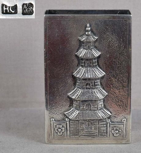 19c Chinese export silver PAGODA MATCH BOX HOLDER hallmarked