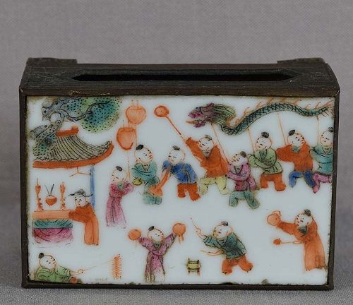 19c Chinese porcelain & brass MATCH BOX HOLDER boys procession