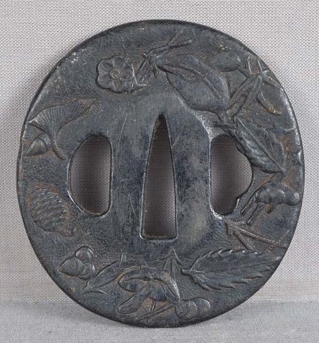 18c Japanese sword TSUBA forest items