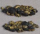 Pair 19c Japanese sword MENUKI DRAGONS in clouds