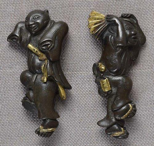 Pair 19c Japanese sword MENUKI samurai and merchant