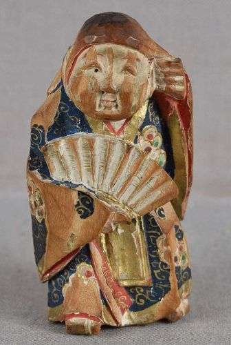 19c saishiki netsuke ACTOR in SHOJO ROLE