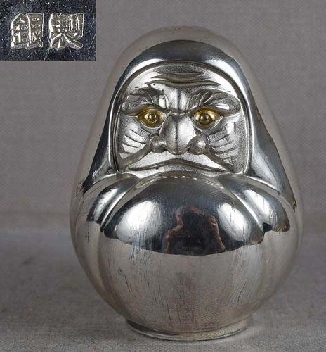 Silver netsuke DARUMA DOLL