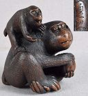 19c netsuke MONKEY with young SADAKAZU ex Royal Collection