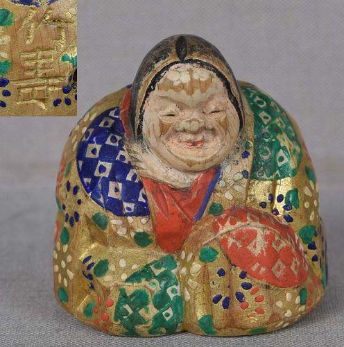 19c shunga Hida saishiki netsuke OKAME by CHIKUJU