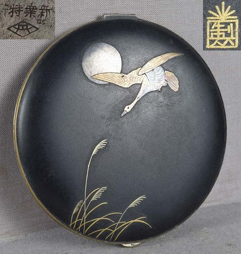 1920s Japanese KOMAI COMPACT GOOSE & moon