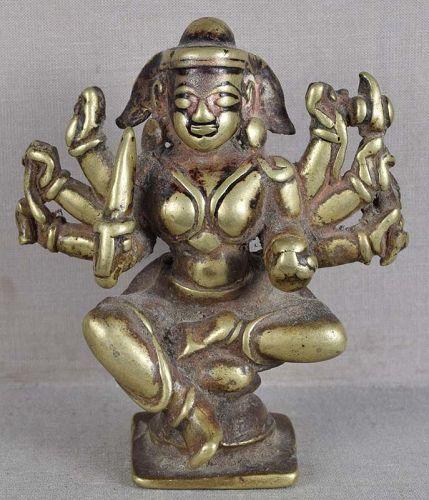 18c Indian bronze 8-armed DURGA as Mahishasuramardini