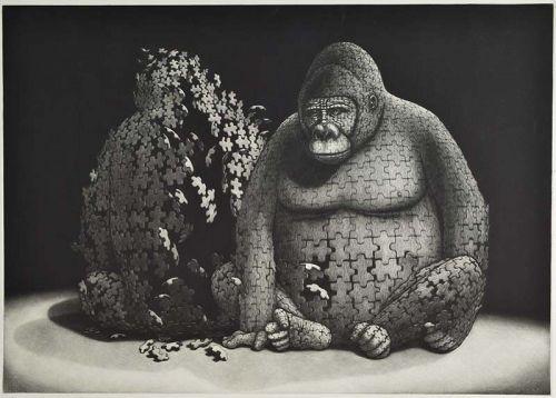Limited edition ATSUO SAKAZUME print GORILLA SAFARI LAND - EMPTY HEART