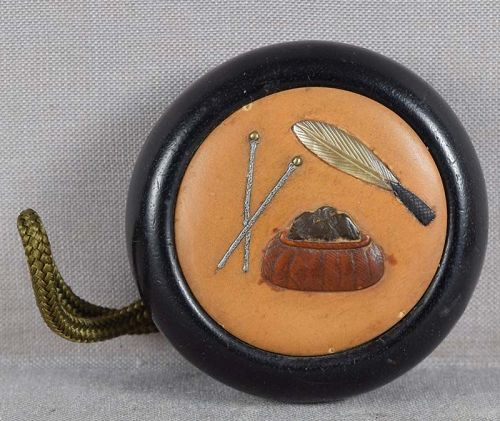 19c netsuke Shibayama TEA CEREMONY utensils