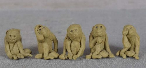 5 vintage Japanese ceramic bonsai MONKEYS different attitudes