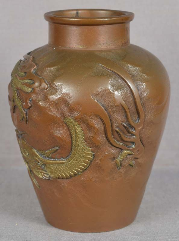 19c Japanese bronze vase DRAGON among clouds