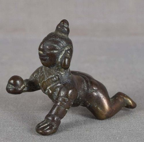 18/19c Indian bronze KRISHNA the butter thief