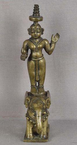 19c Indian bronze SRI DEVI on ELEPHANT