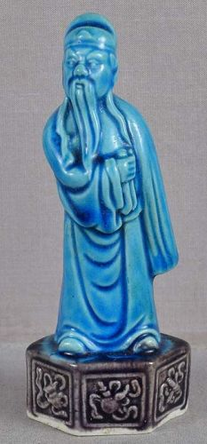 19c Chinese porcelain sculpture SCHOLAR
