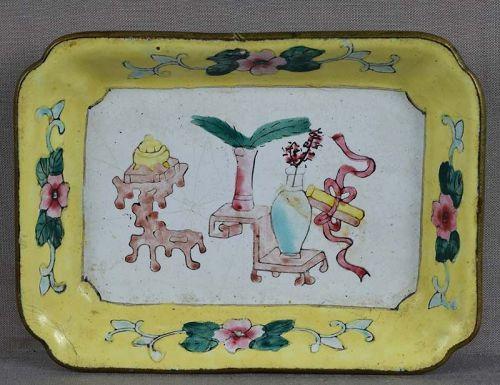 19c Chinese Canton enamel DISH scholar objects
